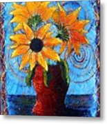 Blazing Sunflowers Metal Print