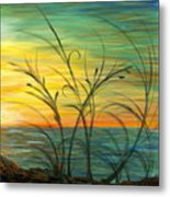Blazing Sunrise And Grasses In Blue Metal Print