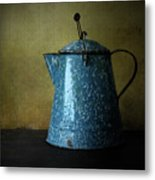 Blue Enamelware Coffee Pot Metal Print