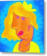 Blond Girl In A Yellow Hat Cubism Style Metal Print