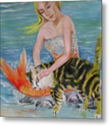 Blond Mermaid And Cat Metal Print