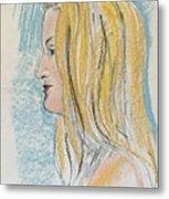 Blonde With Long Hair Metal Print
