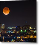 Blood Moon Over Downtown Metal Print