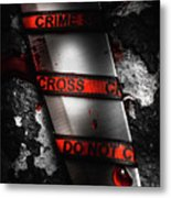 Bloody Knife Wrapped In Red Crime Scene Ribbon Metal Print