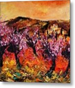 Blooming Cherry Trees Metal Print