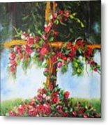 Blooming Cross Metal Print