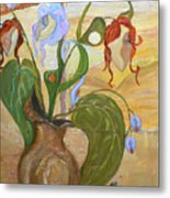 Blooming Orchids In The Vase Metal Print
