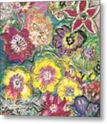 Blooms And Butterfly Metal Print