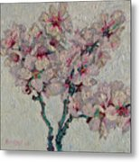 Blossoming Peaches Branch Metal Print