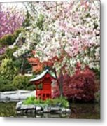 Blossoms Abound In The Japanese Garden Metal Print