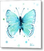 Blue Abstract Butterfly Metal Print