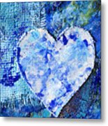 Blue Abstract Painting With Heart Metal Print