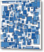 Blue Abstract Patches Metal Print