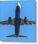 Blue Airplane Takeing Off Metal Print