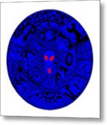 Blue Alien Mandala Metal Print