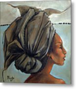 Blue And Black Bead Headdress Metal Print by Jacque Hudson