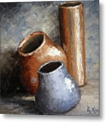 Blue And Brown Pots Metal Print