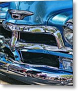 Blue And Chrome Chevy Pickup Front End Metal Print