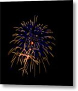 Blue And Gold Fireworks Metal Print