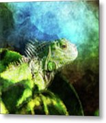 Blue And Green Iguana Profile Metal Print