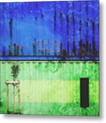 Blue And Green Metallic Shed Metal Print