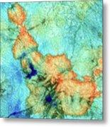 Blue And Orange Abstract - Time Dance - Sharon Cummings Metal Print