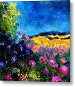 Blue And Pink Flowers Metal Print