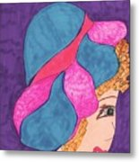 Blue And Pink Hat Metal Print