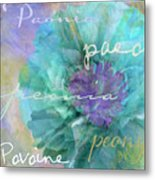 Blue And Purple Peony Metal Print