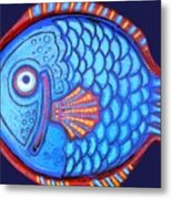 Blue And Red Fish Metal Print