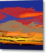 Blue And Red Ocean Sunset Metal Print