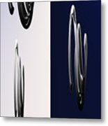 Blue And White Abstract Metal Print