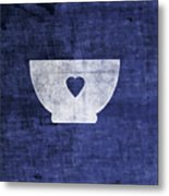 Blue And White Bowl- Art By Linda Woods Metal Print