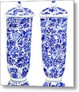 Blue And White Chinoiserie Vases Metal Print