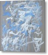 Blue and White Composition Metal Print