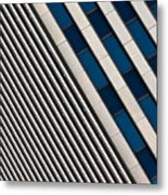 Blue And White Diagonals Metal Print