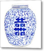 Blue And White Ginger Jar Chinoiserie 8 Metal Print