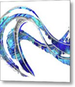 Blue And White Painting - Wave 2 - Sharon Cummings Metal Print