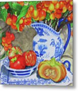 Blue And White Porcelain With Cherries Metal Print