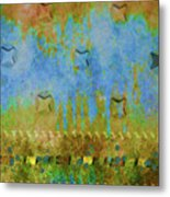 Blue And Yellow Abstract Metal Print