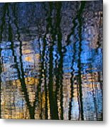 Blue And Yellow Abstract Reflections Metal Print