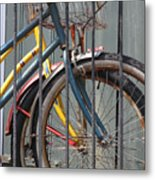 Blue And Yellow Bikes Metal Print