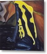 Blue And Yellow Poison Dart Frog Metal Print
