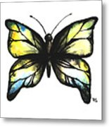 Blue And Yellow Watercolor Butterfly Metal Print