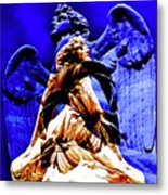 Blue Angel Wings Metal Print