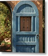 Blue Arch Door Metal Print