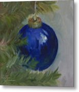 Blue Ball On Christmas Tree Metal Print