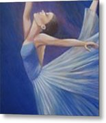 Blue Ballerina Metal Print