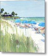 Blue Beach Umbrellas, Crescent Beach, Siesta Key - Wide Metal Print