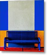 Blue Bench Metal Print